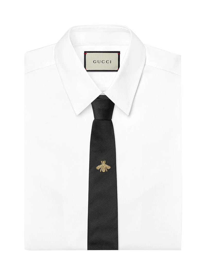 Bee embroidered tie
