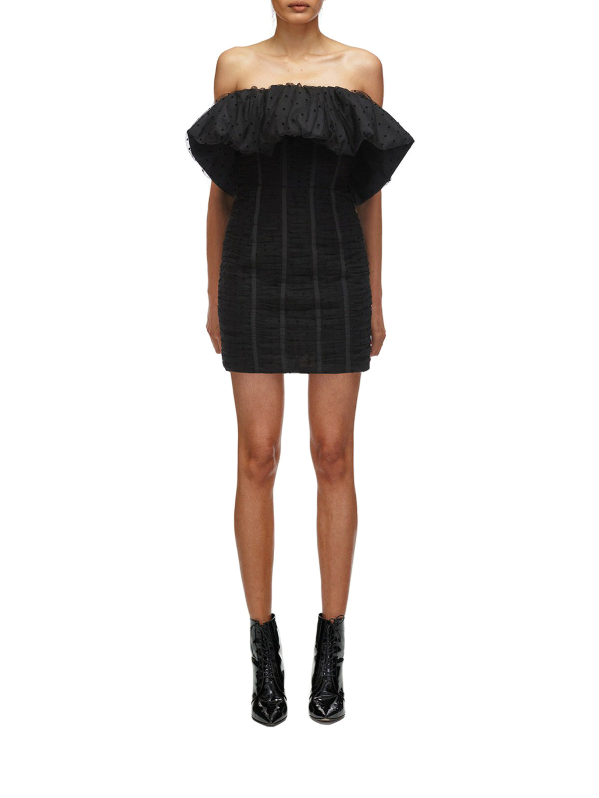 Black Dot Mesh Frill Mini Dress