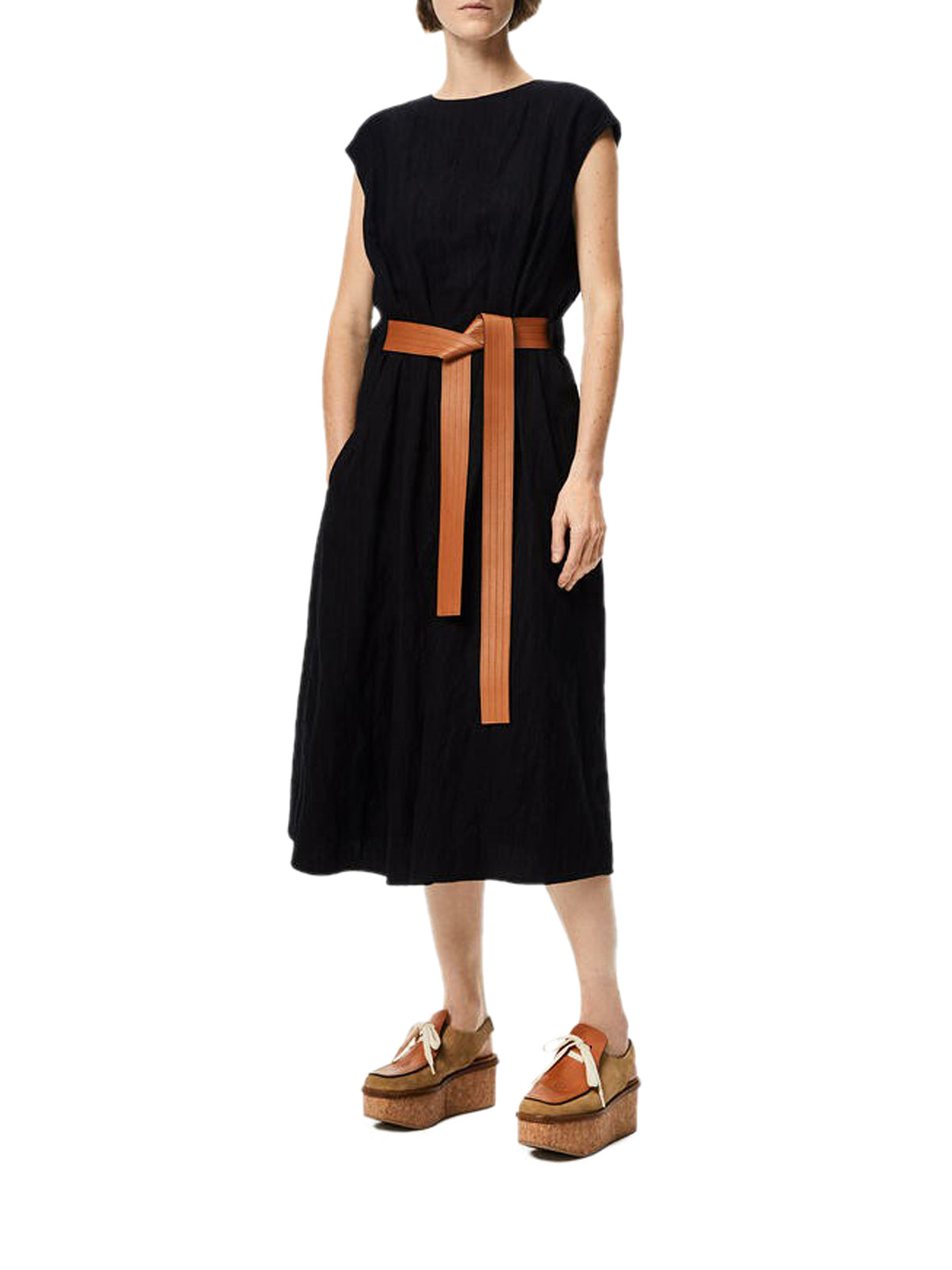 Belted midi dress in wool