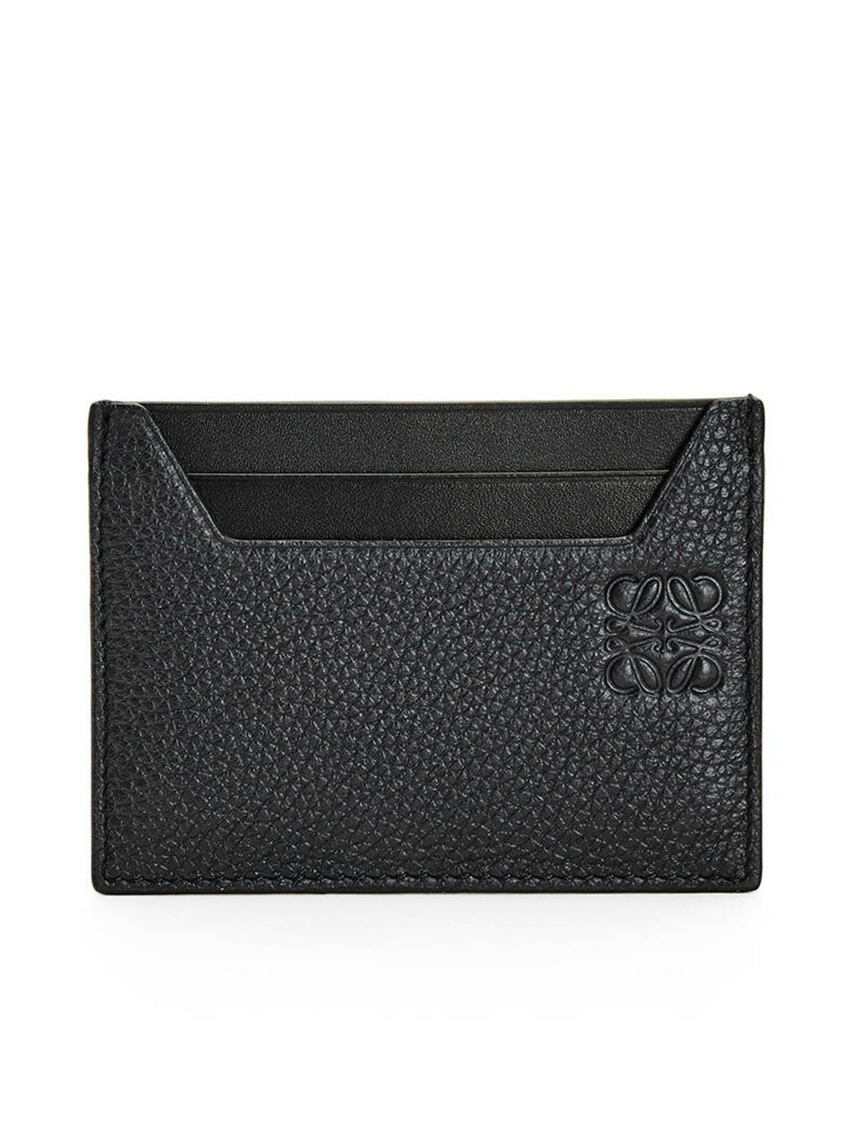 Plain cardholder in grained calfskin