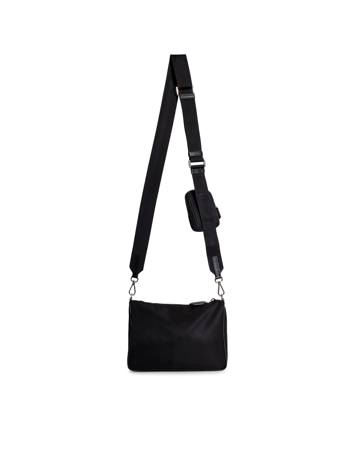 Black nylon and saffiano leather bag with strap