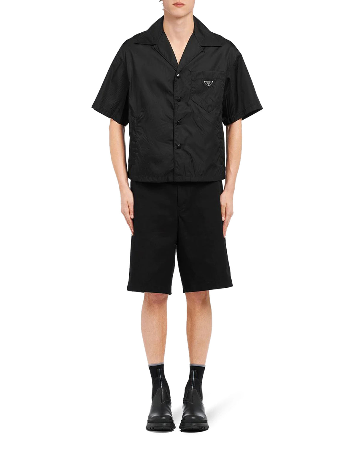 short sleeved recycled-nylon shirt