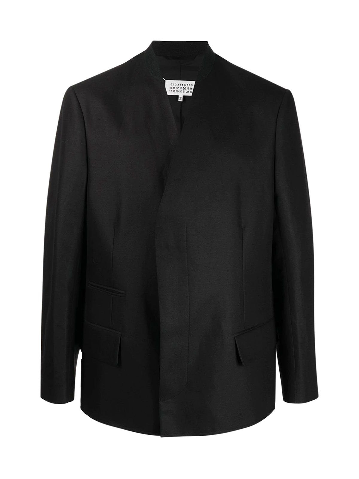 collarless long-sleeve blazer