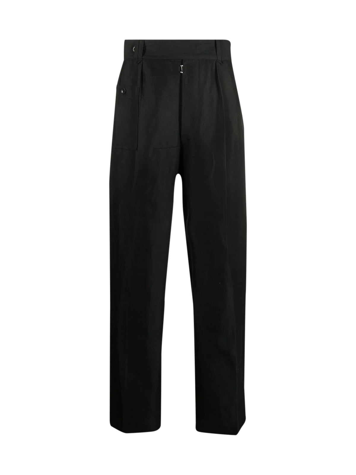 straight-leg linen trousers