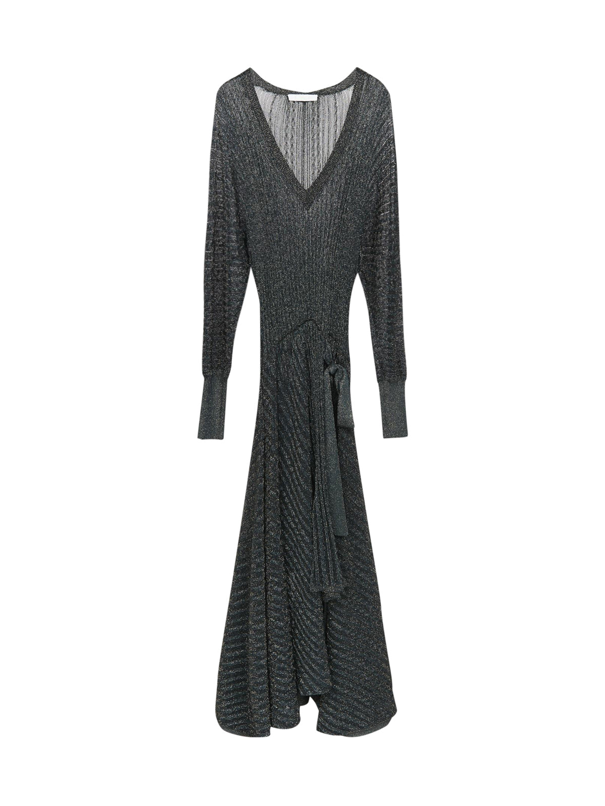 Long-sleeved evening dress with V-neck in lurex knit
