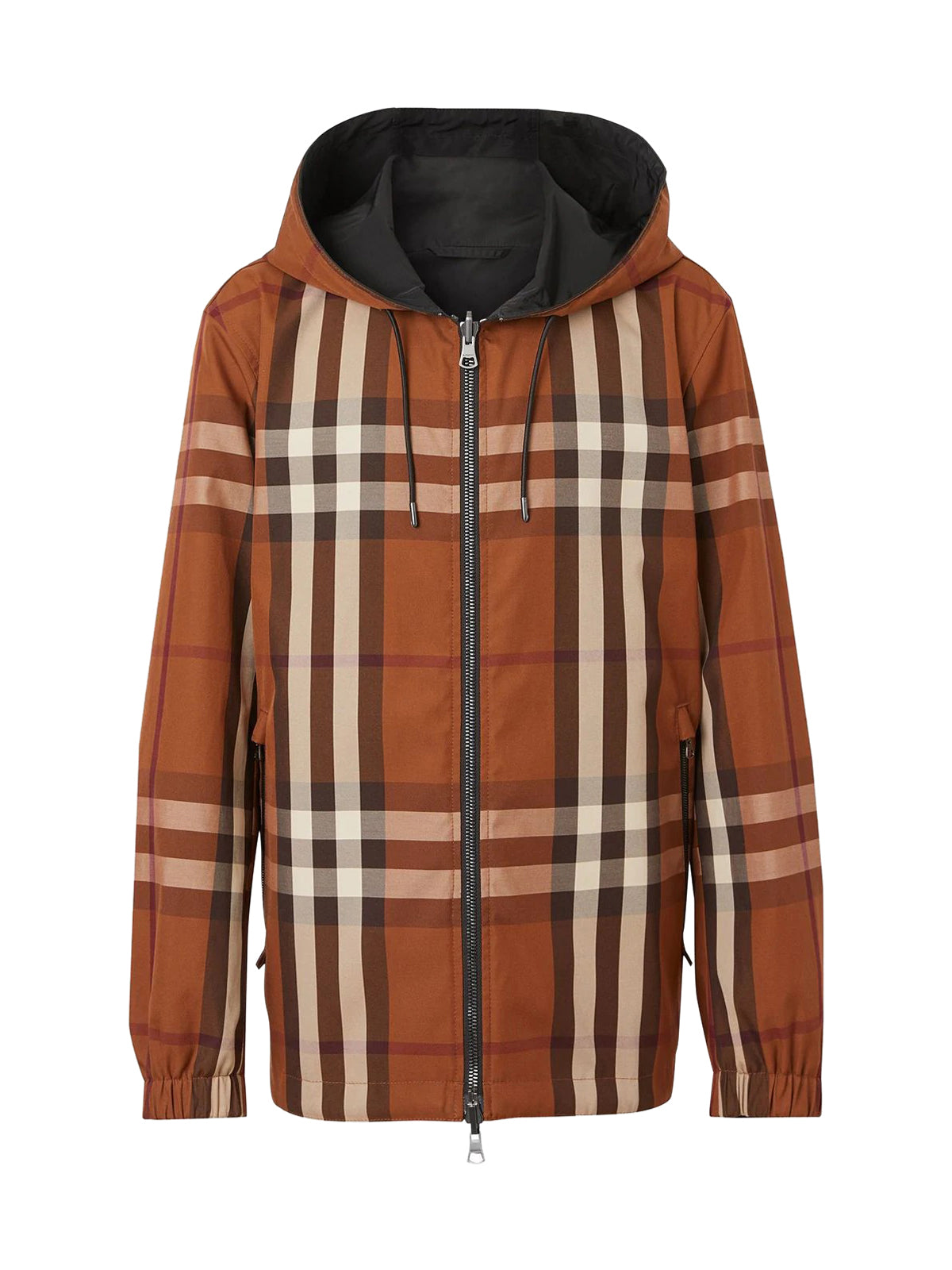 reversible check-pattern jacket