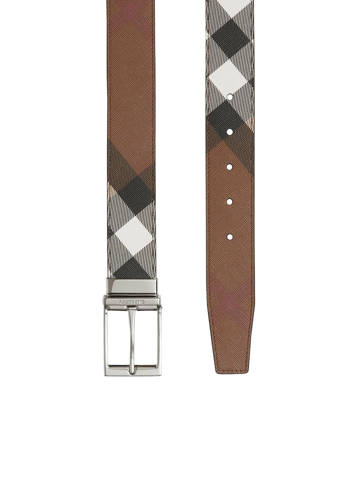 check-print leather belt