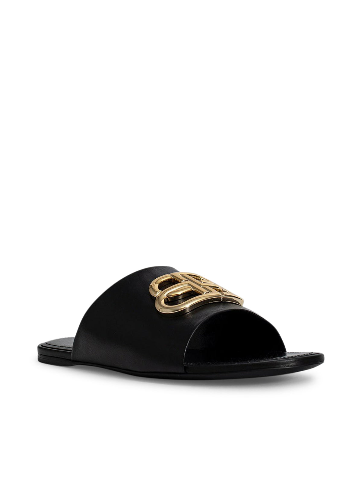 Black oval bb mule sandals