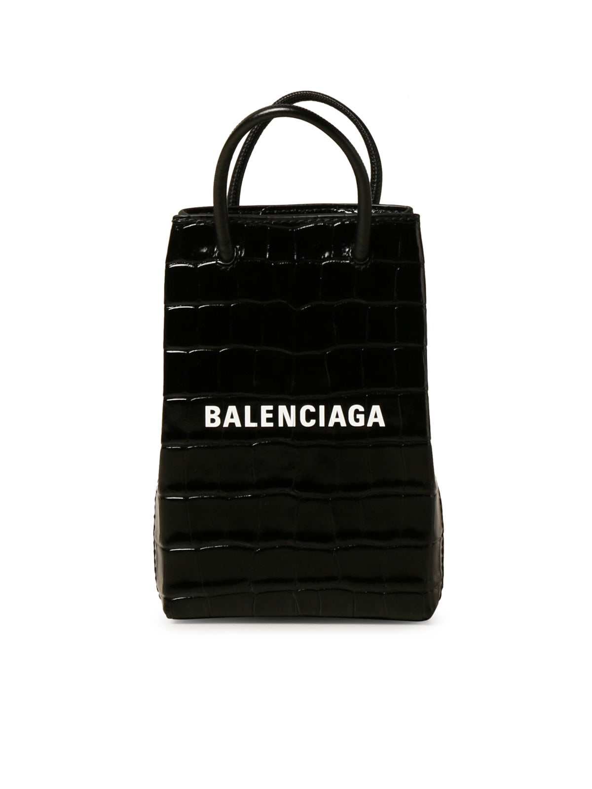 Balenciaga mobile phone bag in crocodile print leather with logo