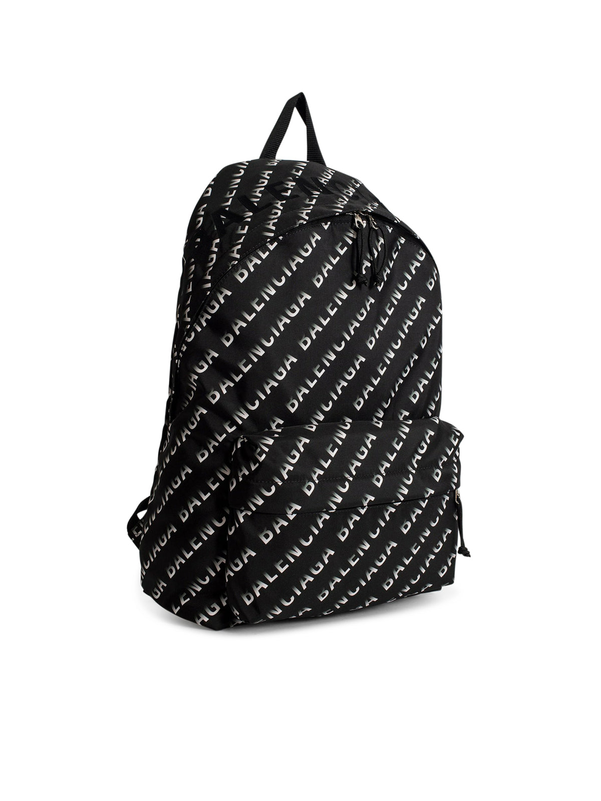 Black and white all over logo wheel backpack