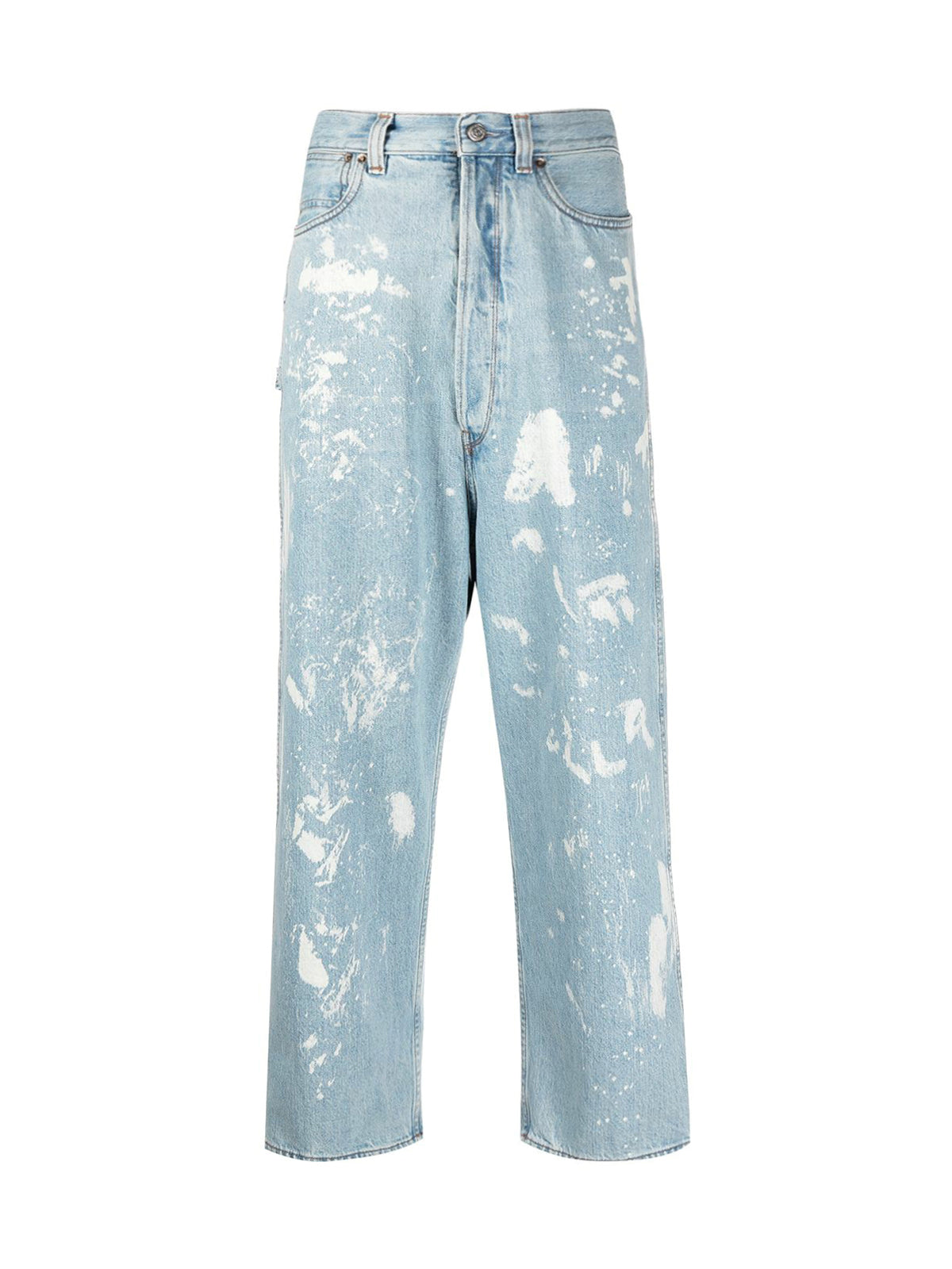 paint-splattered straight-leg jeans
