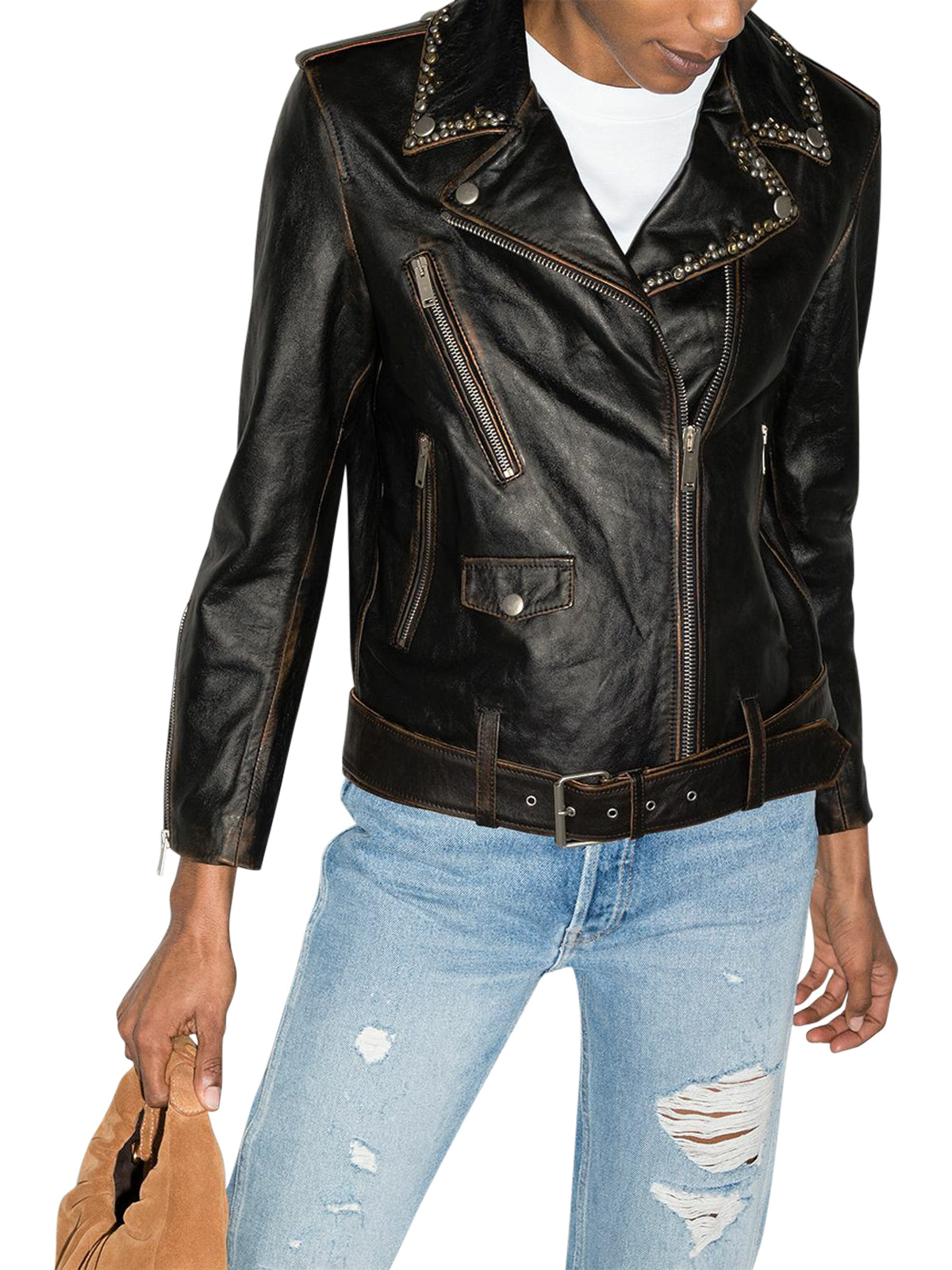 stud-embellished leather biker jacket