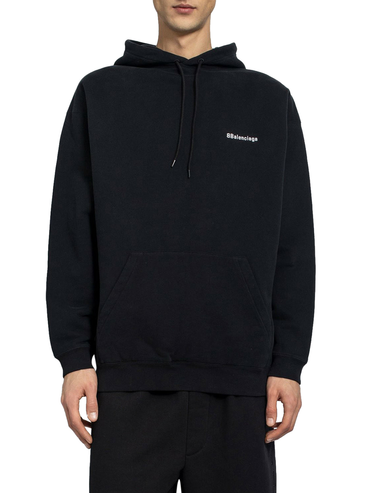 Black bb logo medium fit hoodie
