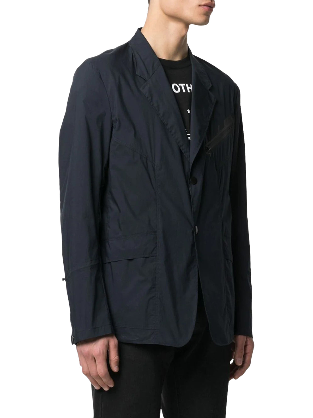 zip-pocket single-breasted blazer