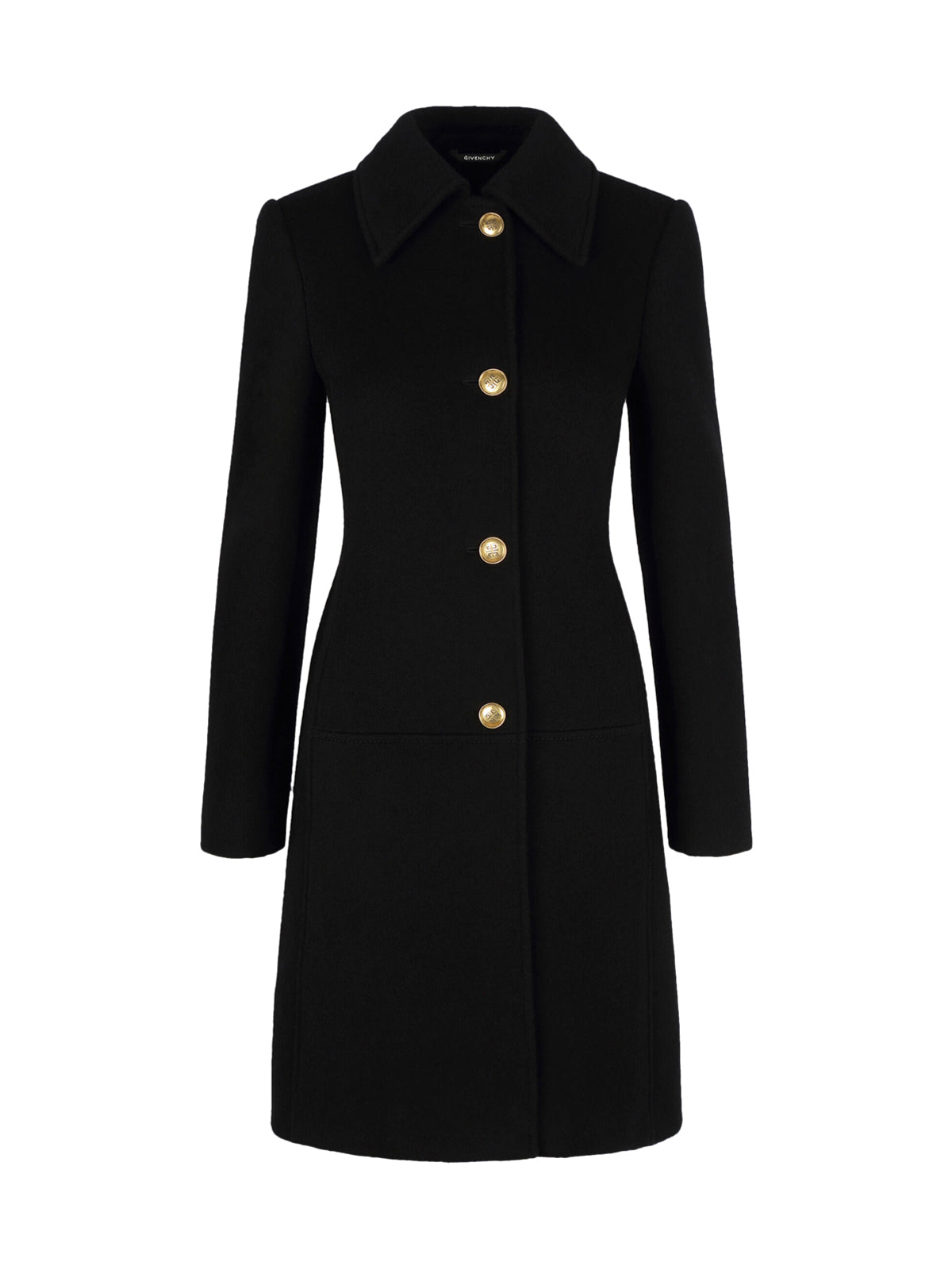 WOOL AND CASHMERE COAT WITH 4G BUTTONS AND CHAIN