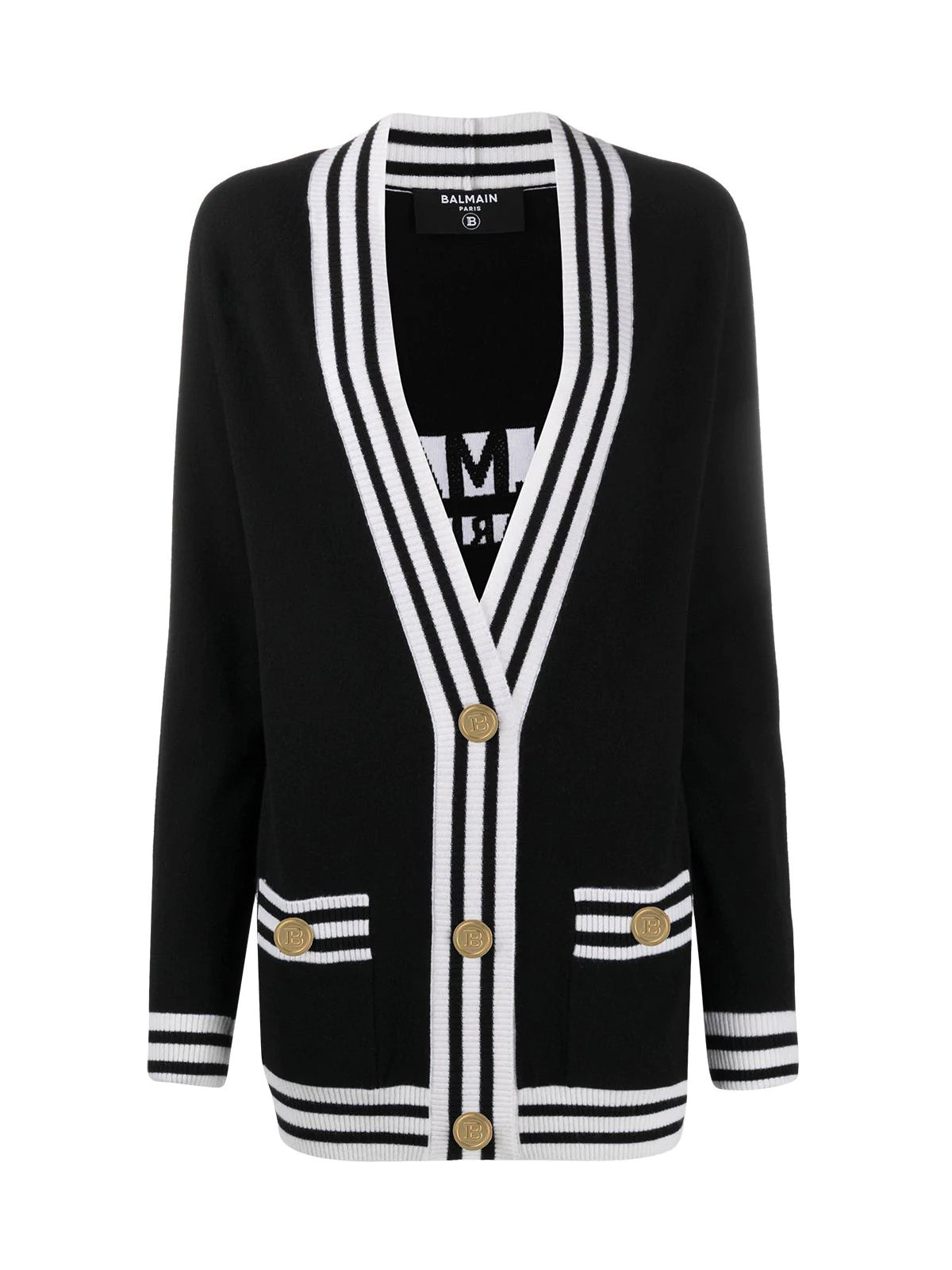 stripe-trim longline cardigan