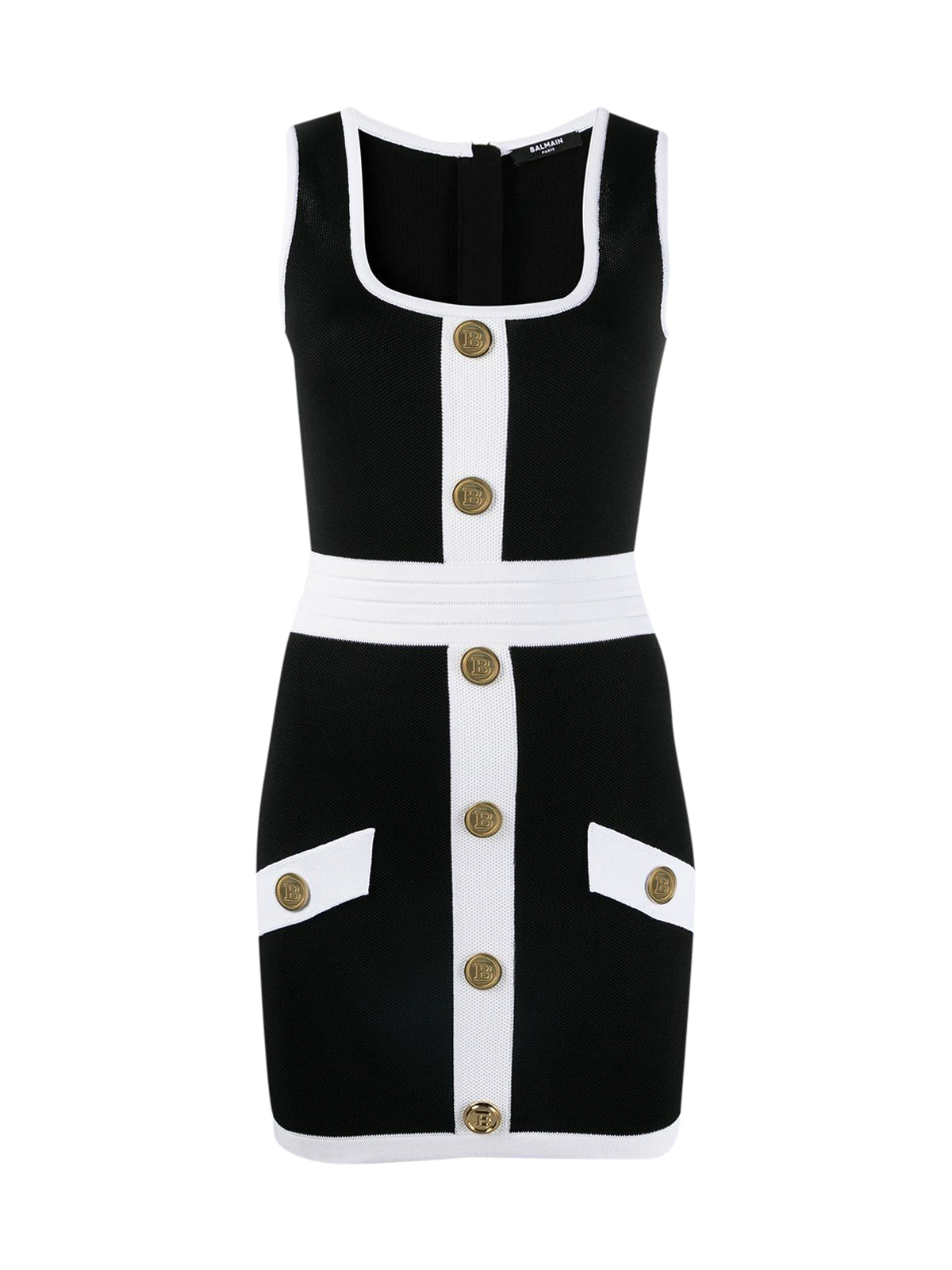 button-embellished fitted dress