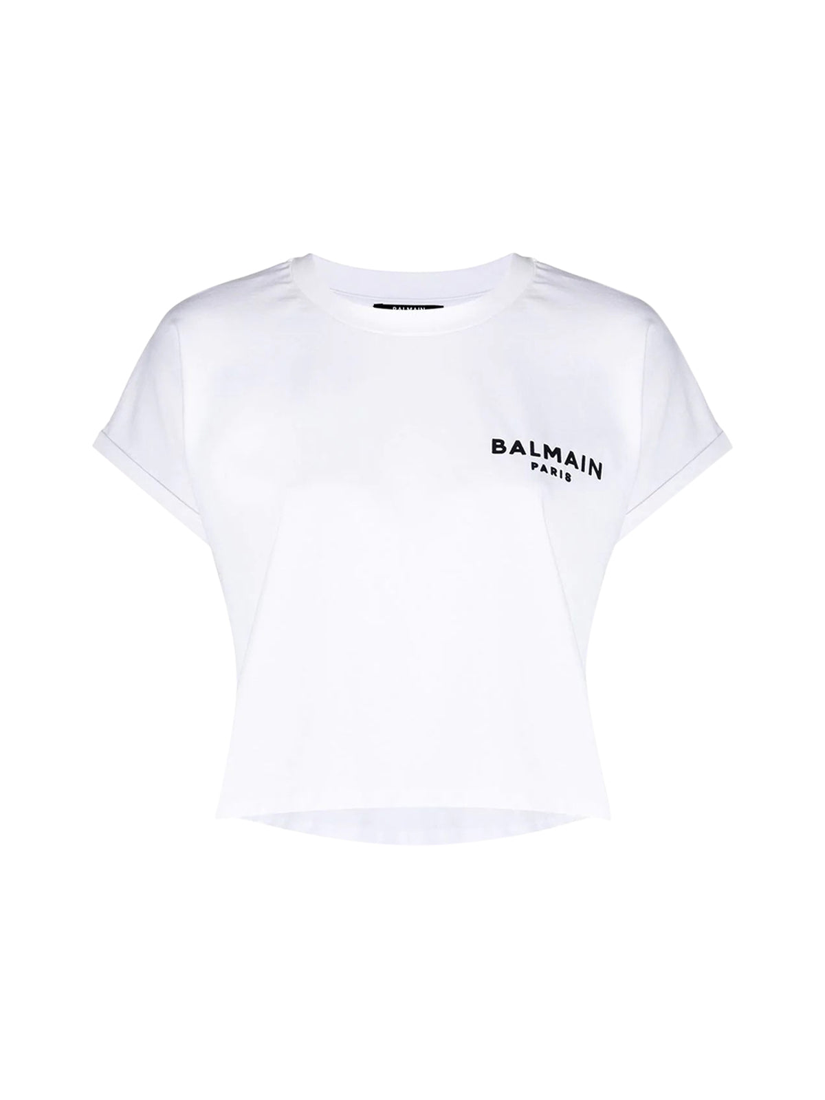 logo-embroidered cropped T-shirt