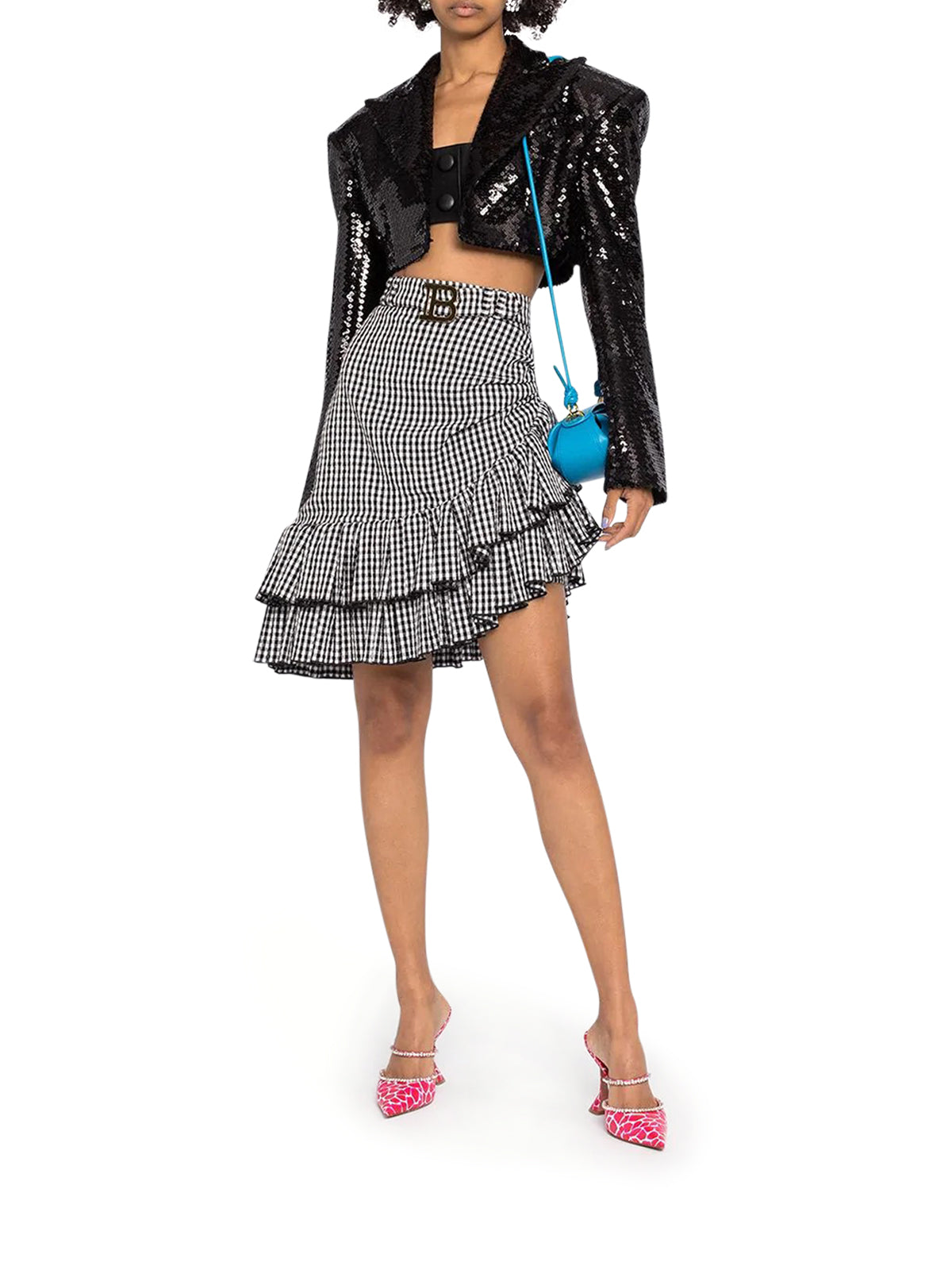 belted ruffled asymmetric skirt