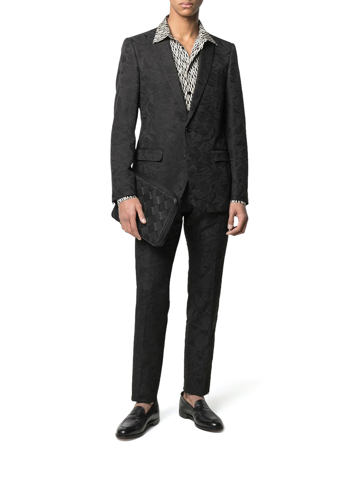 floral jacquard martini two-piece suit