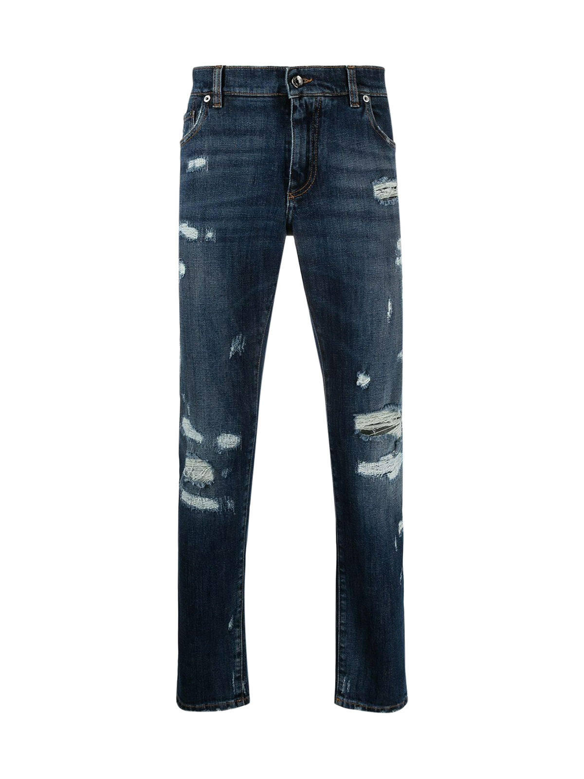 embossed logo ripped slim-fit jeans