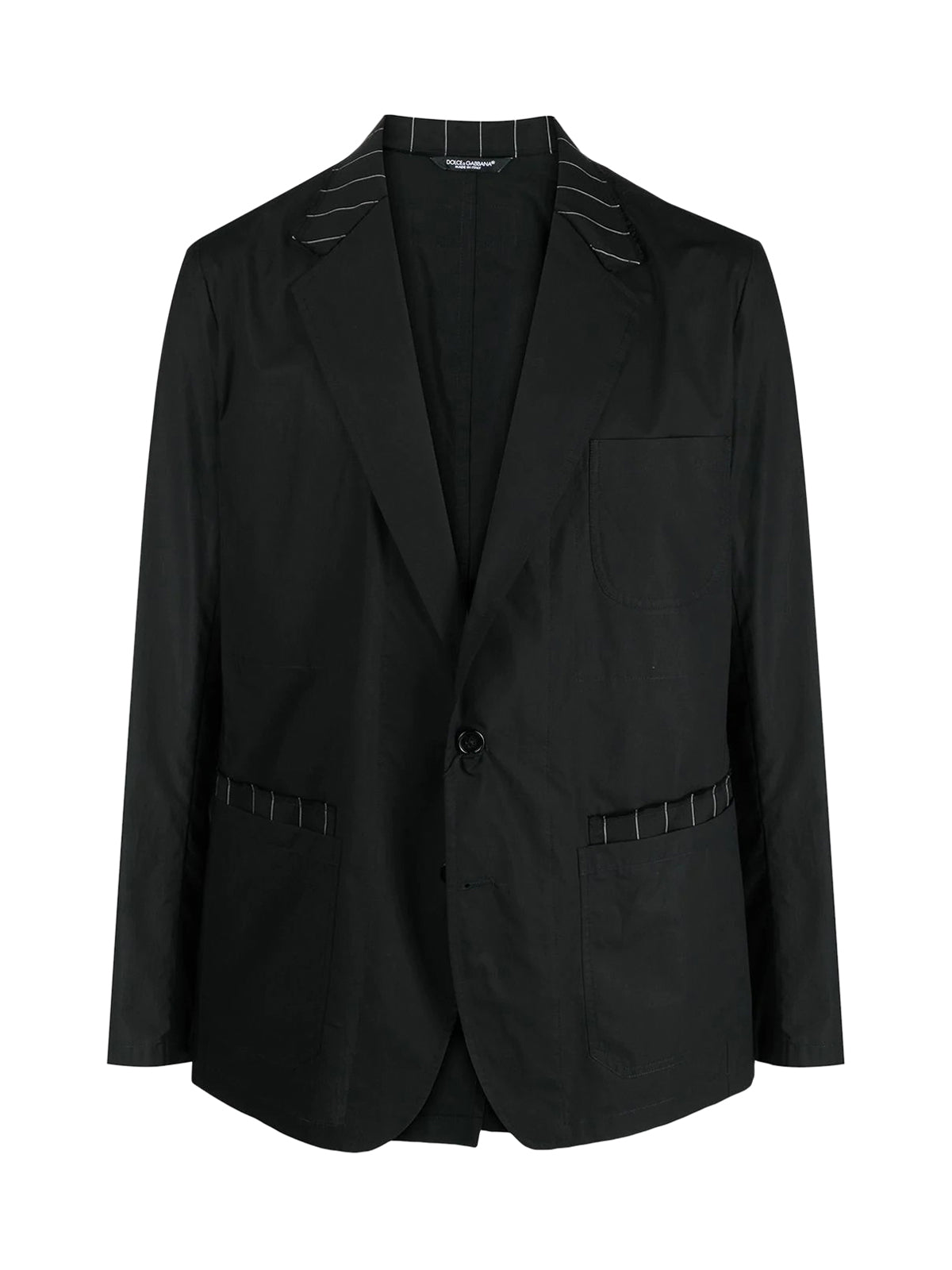 pinstriped details single-breasted blazer