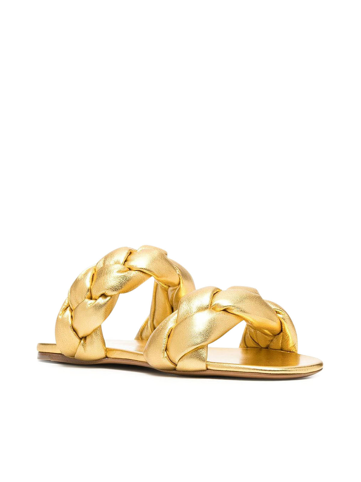 metallic interwoven flat sandals