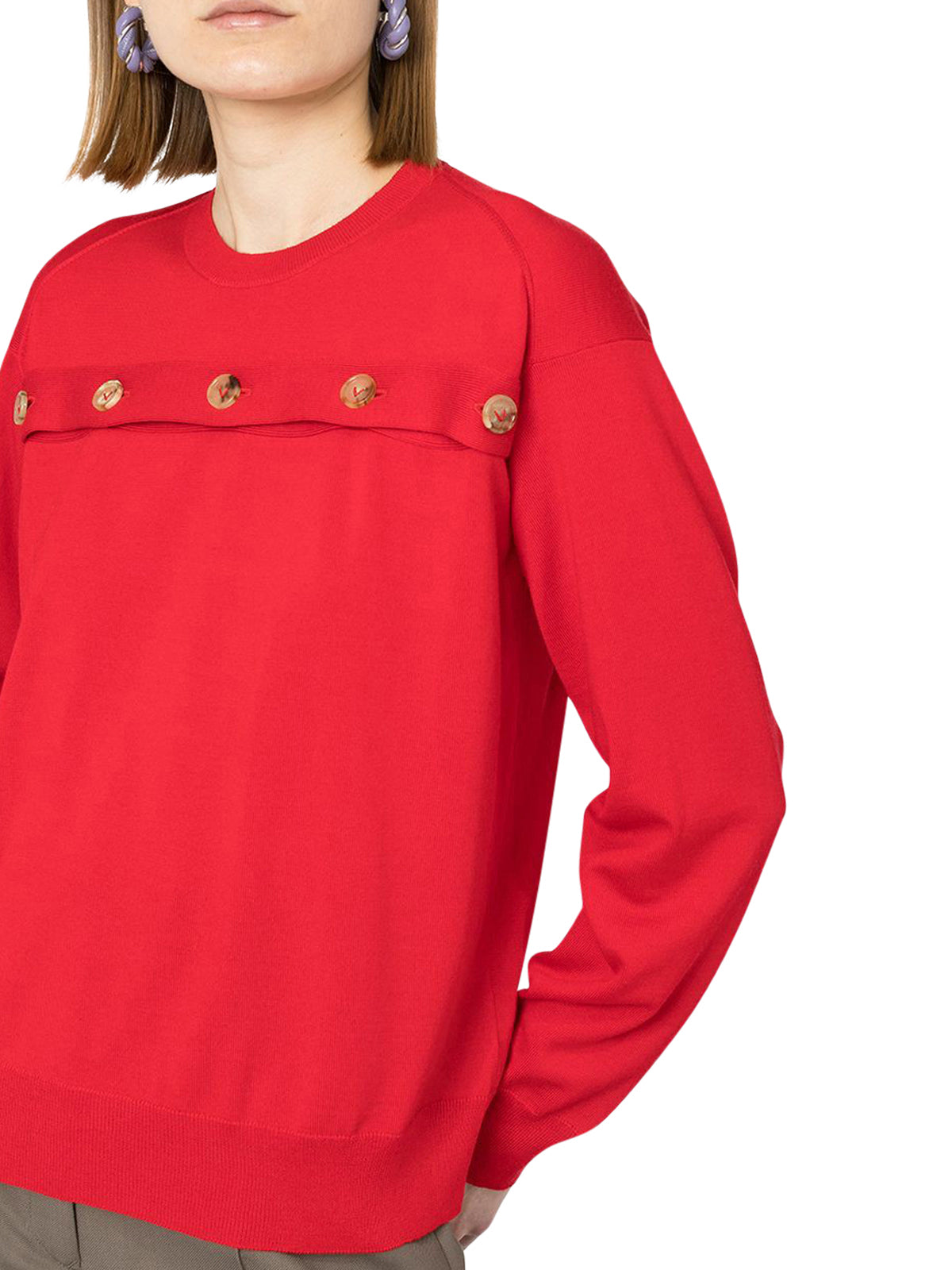 buttoned wool pullover