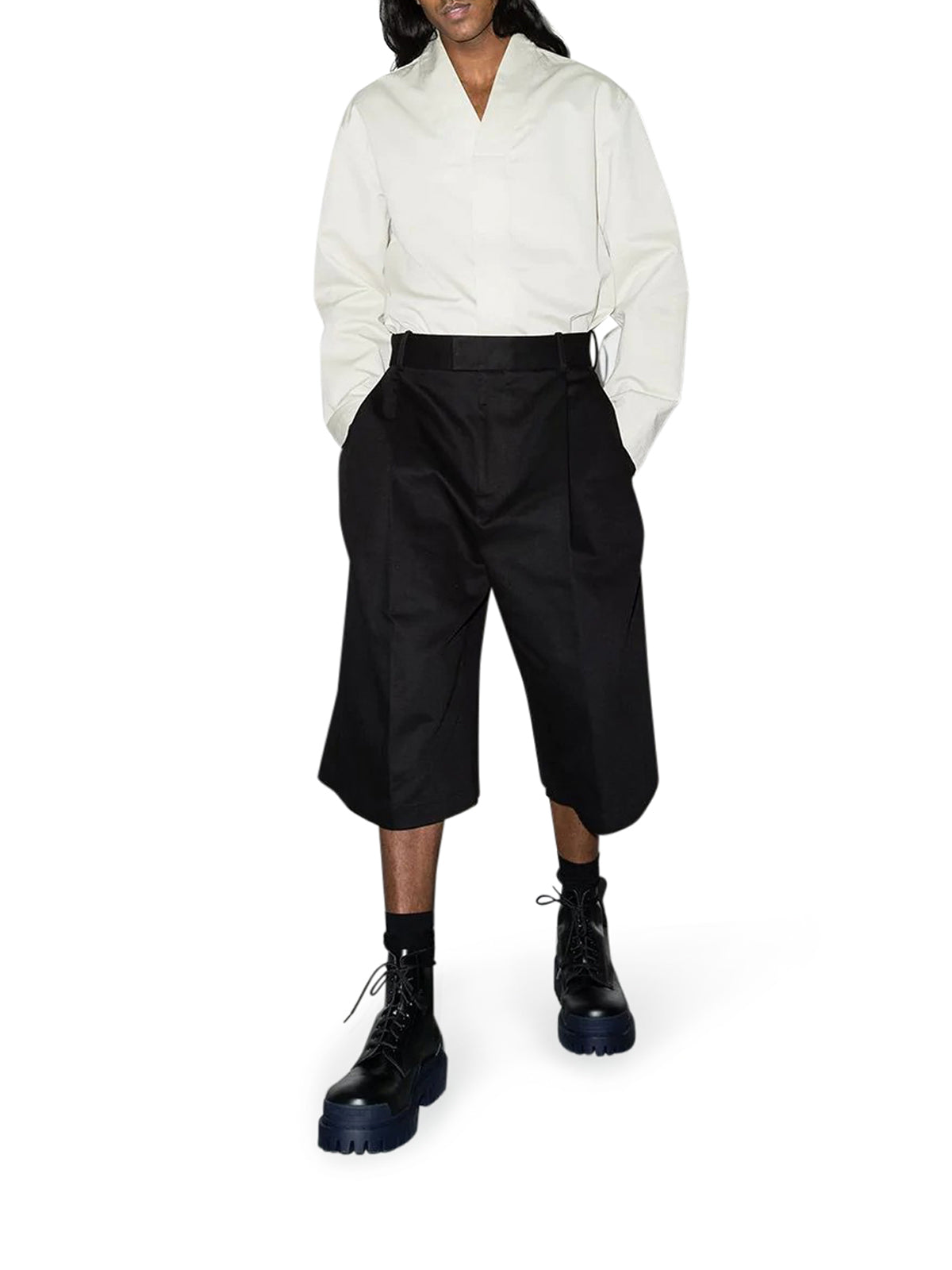 over-the-knee tailored shorts