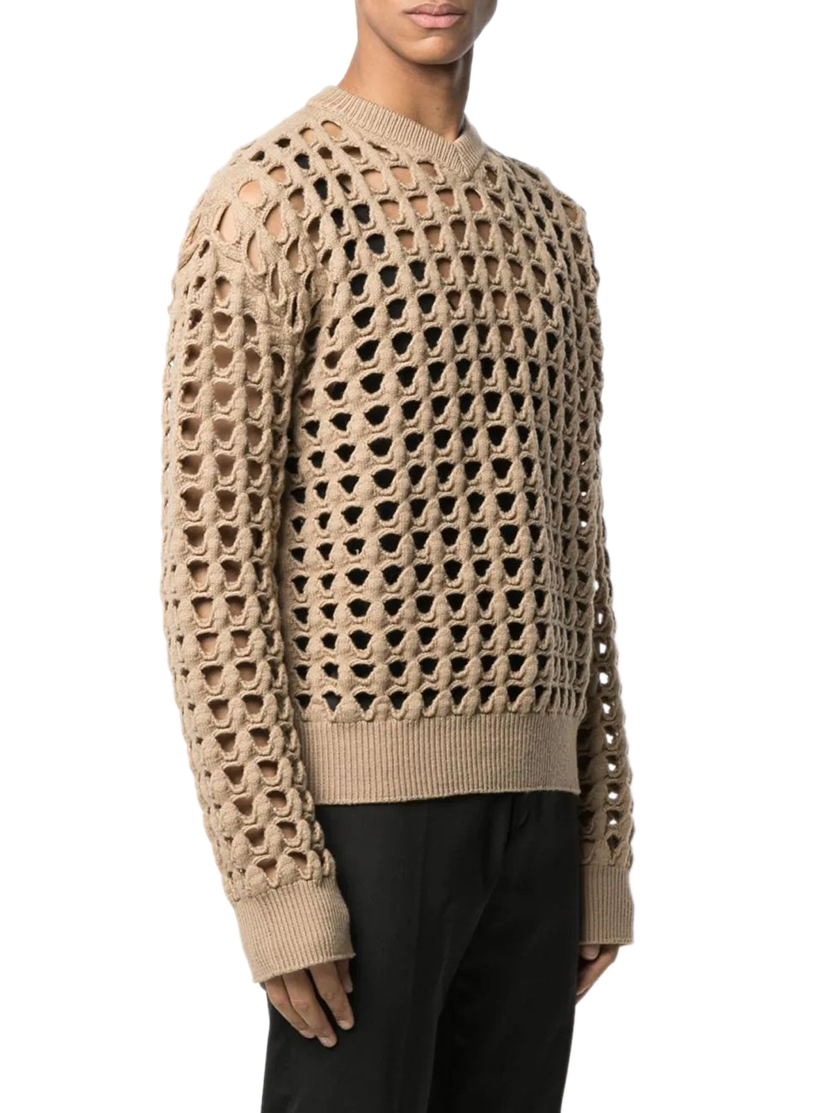 open-knit V-neck jumper