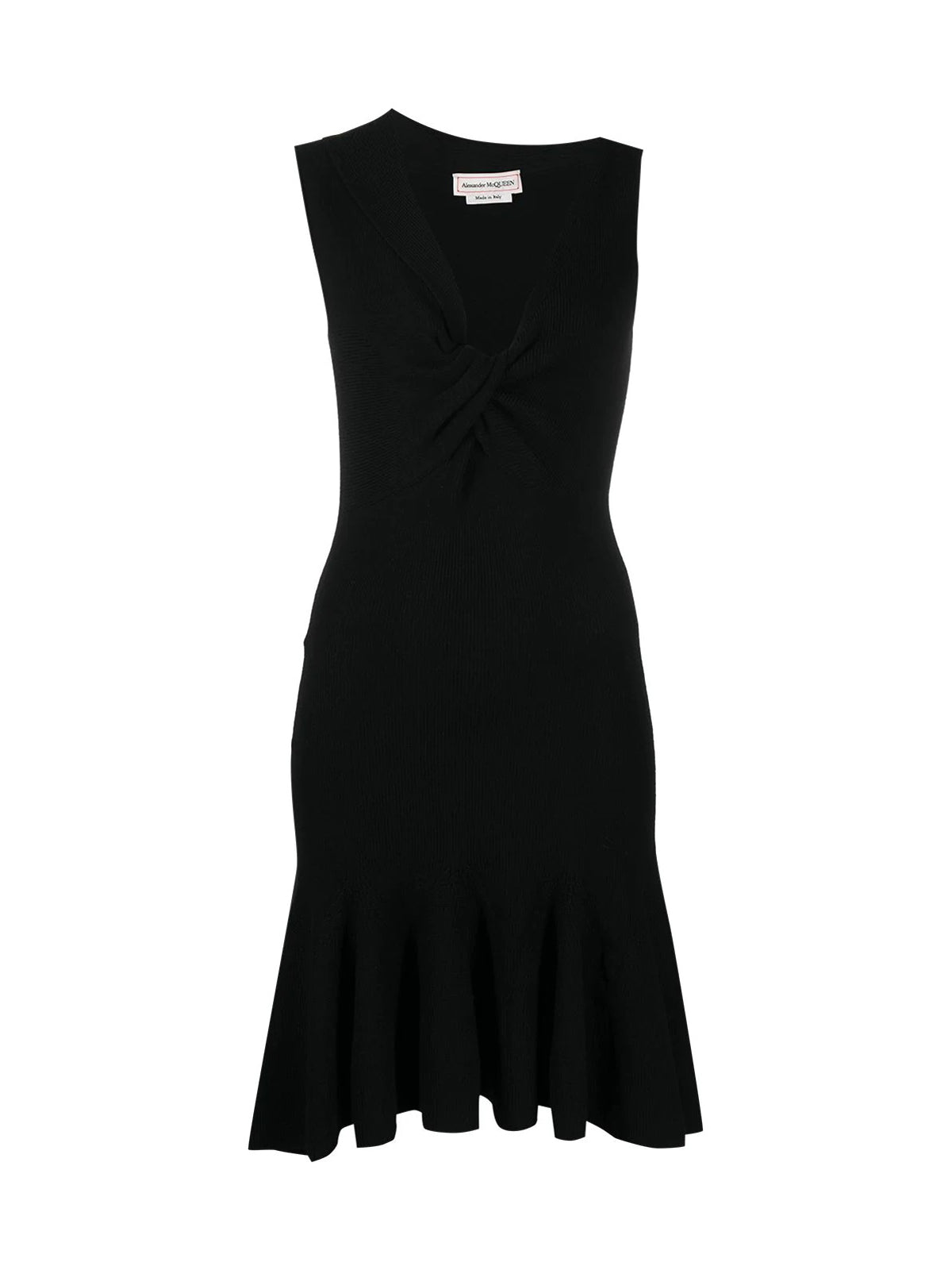 asymmetric neck knitted dress