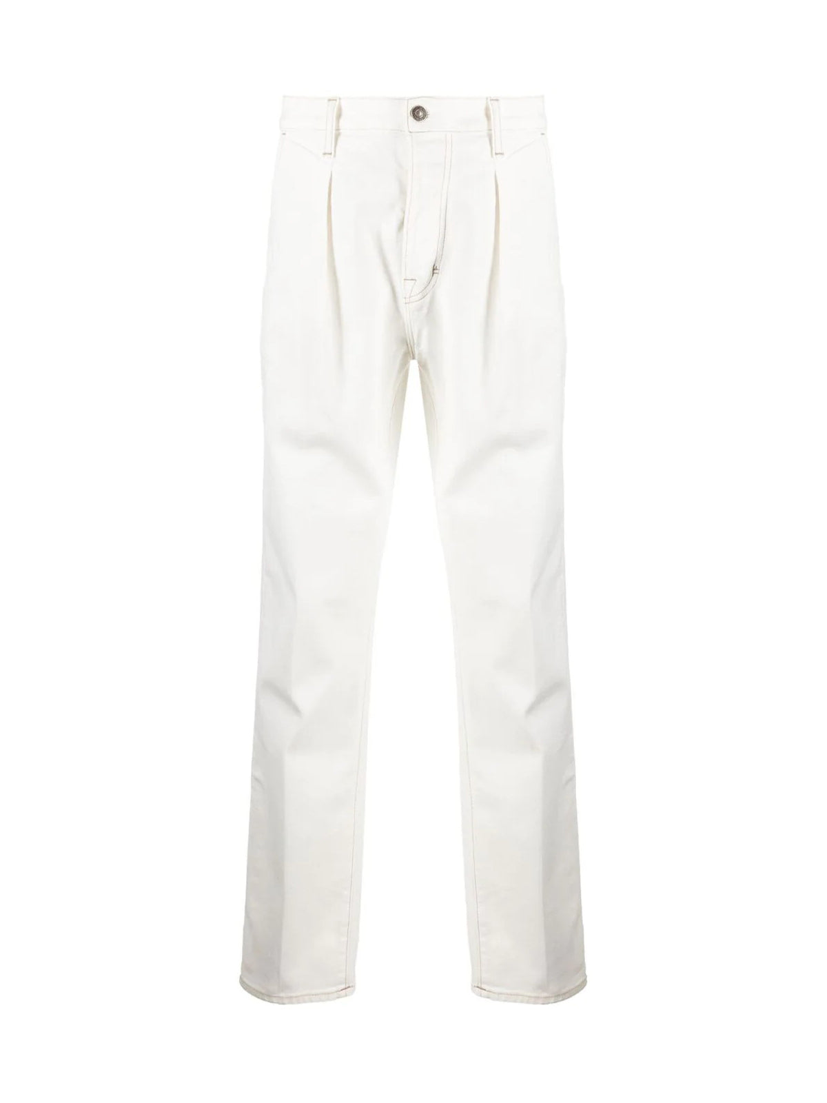 pleat-detail straight-leg jeans