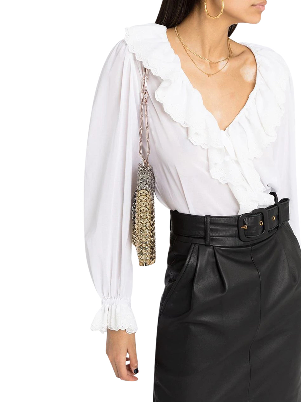 BRODERIE ANGLAISE FRILLED TIE BLOUSE IN COTTON VOILE