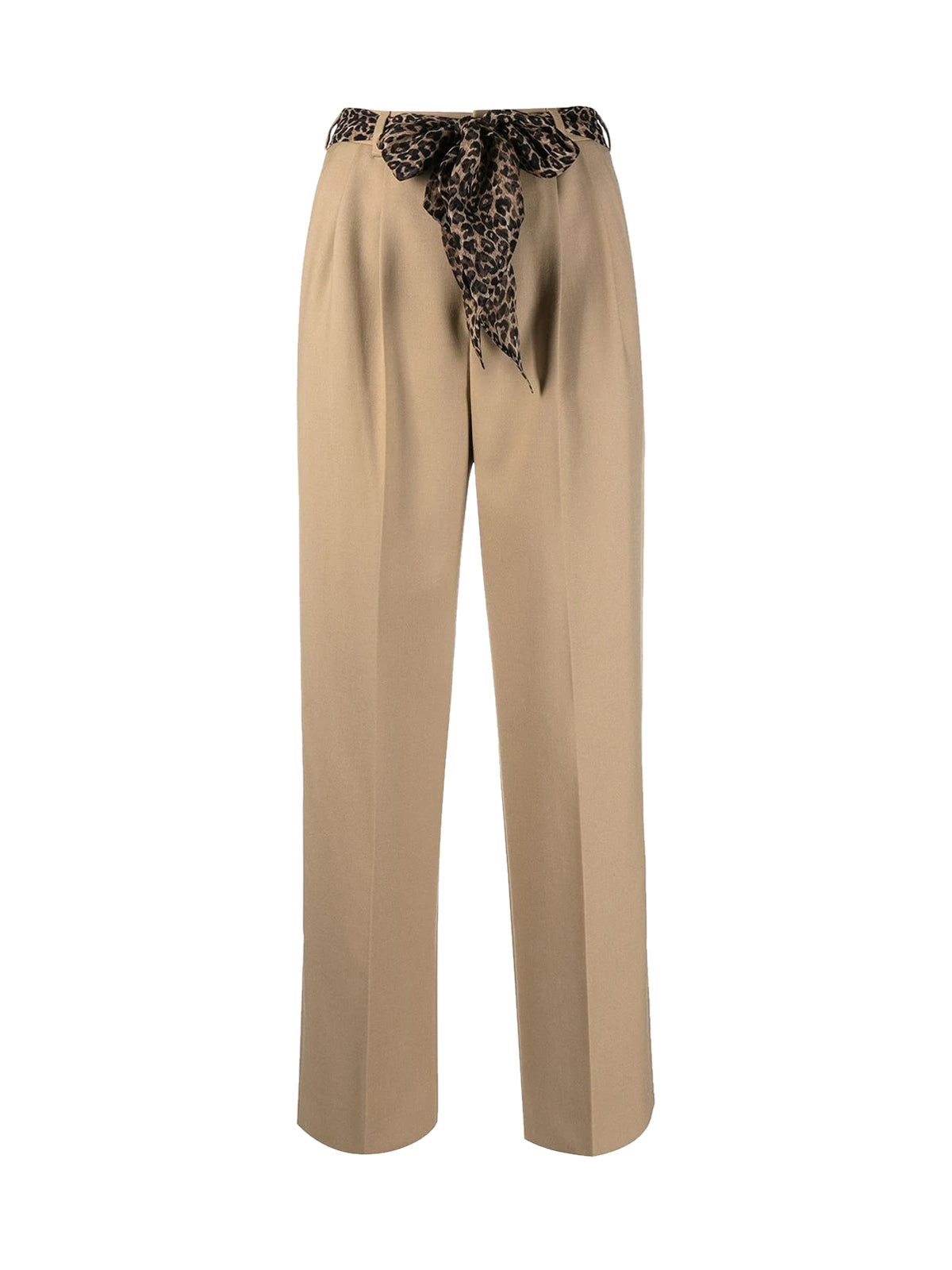 silk belt pleated trousers