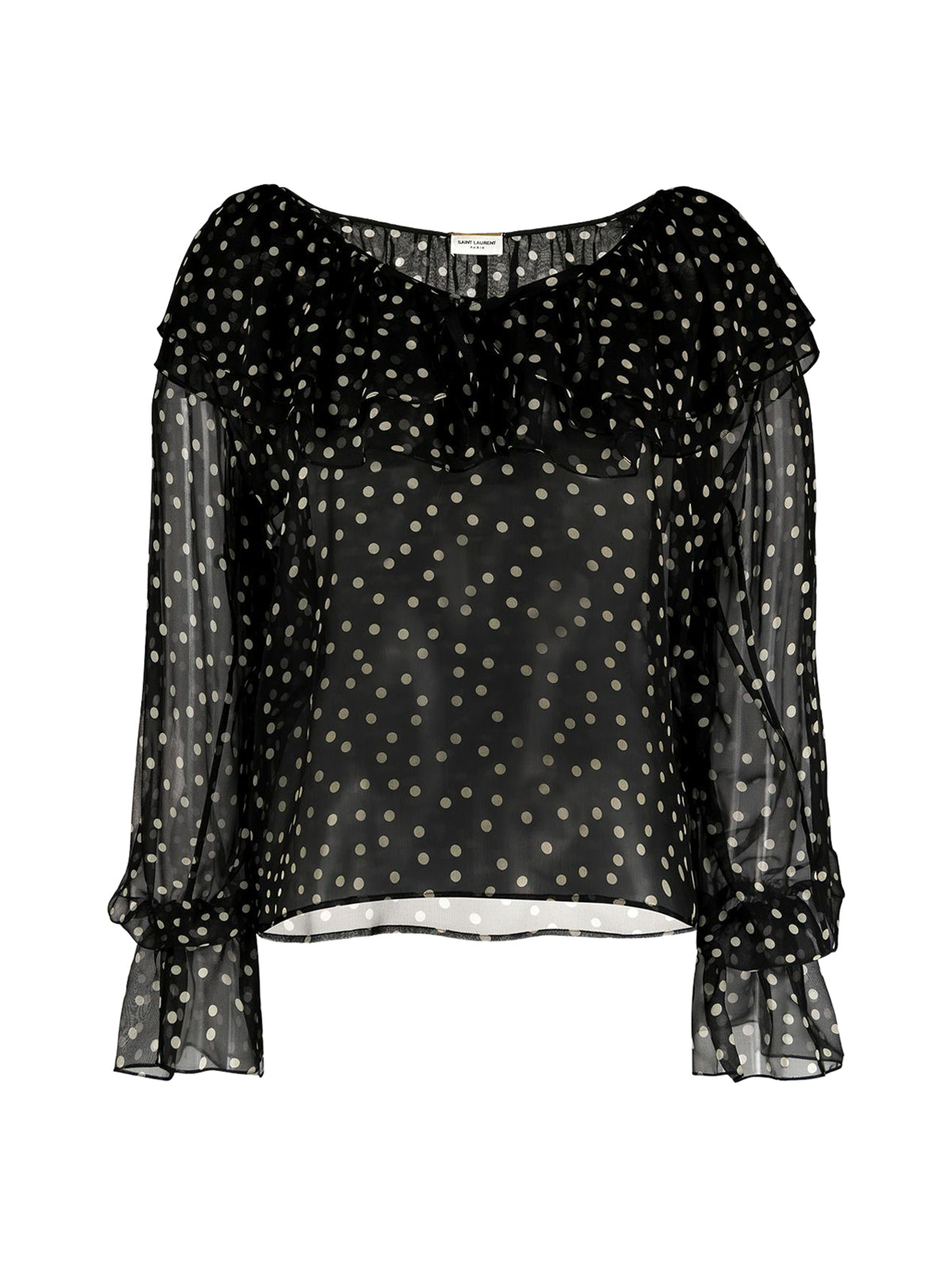POLKA DOT SILK SHIRT WITH RUFFLE DETAIL