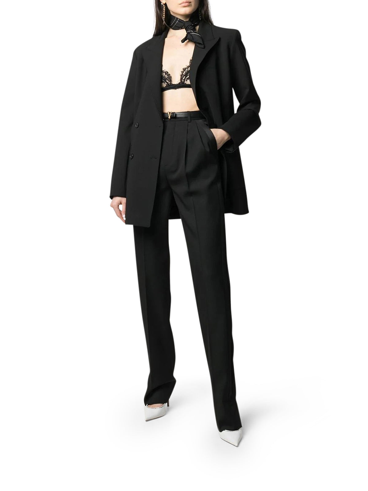 high-waisted tailored trousers