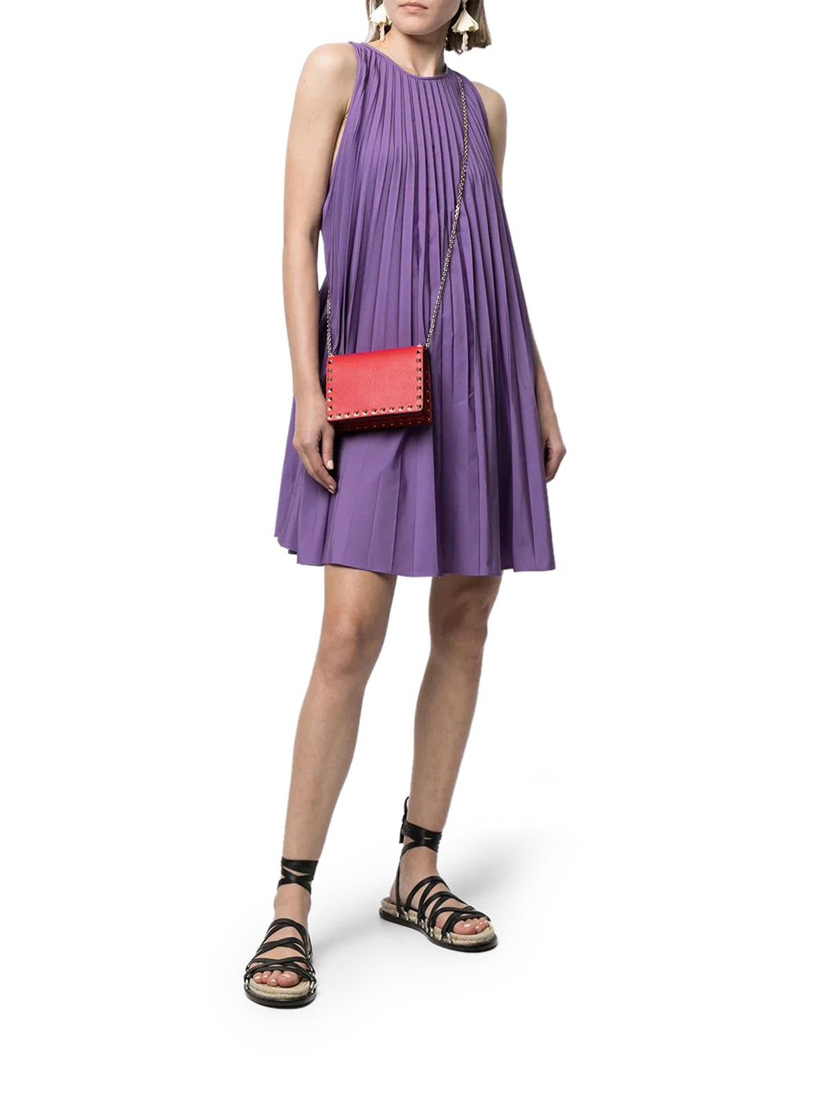 pleated sleeveless minidress