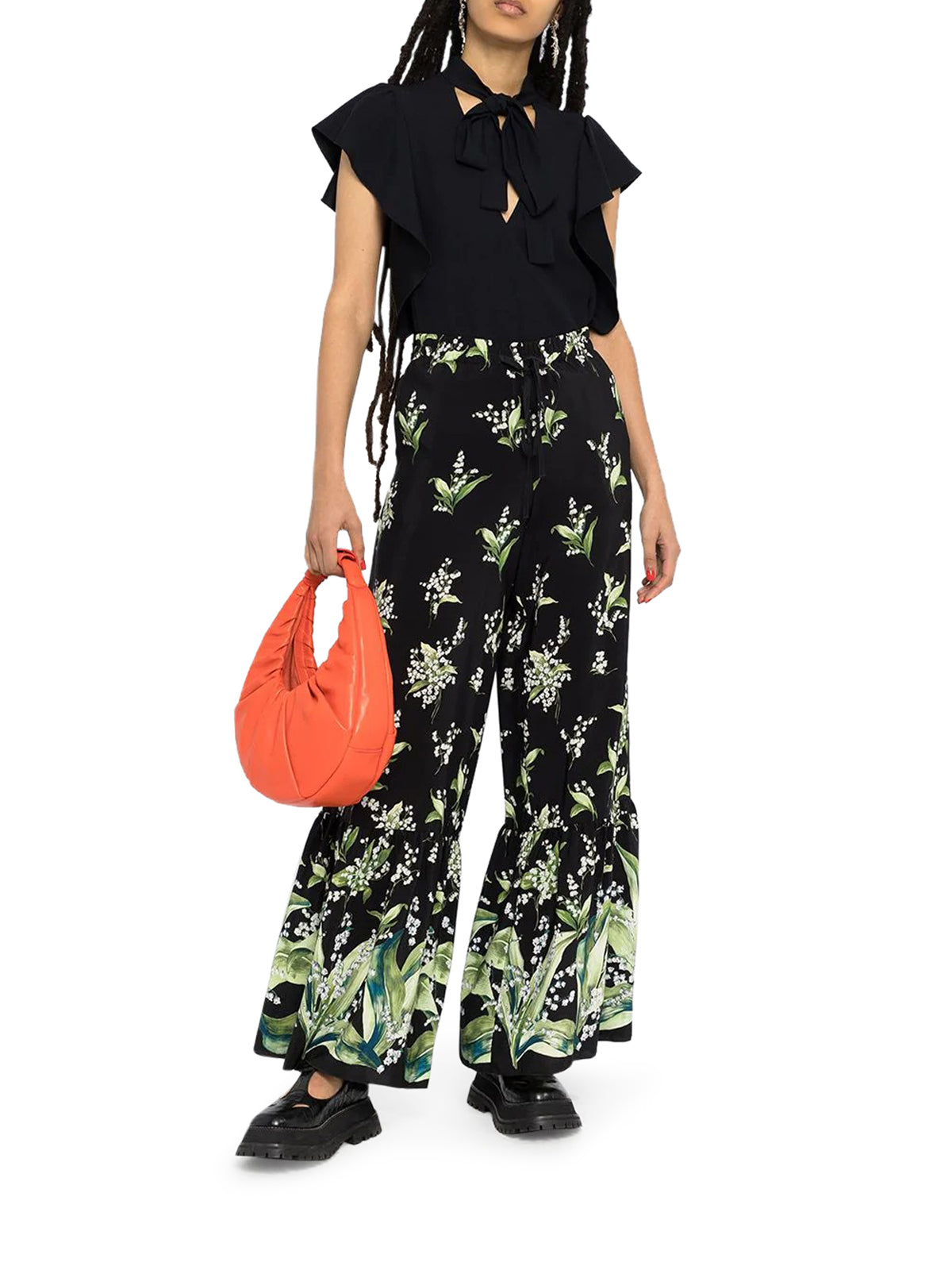 May Lily printed flared trousers
