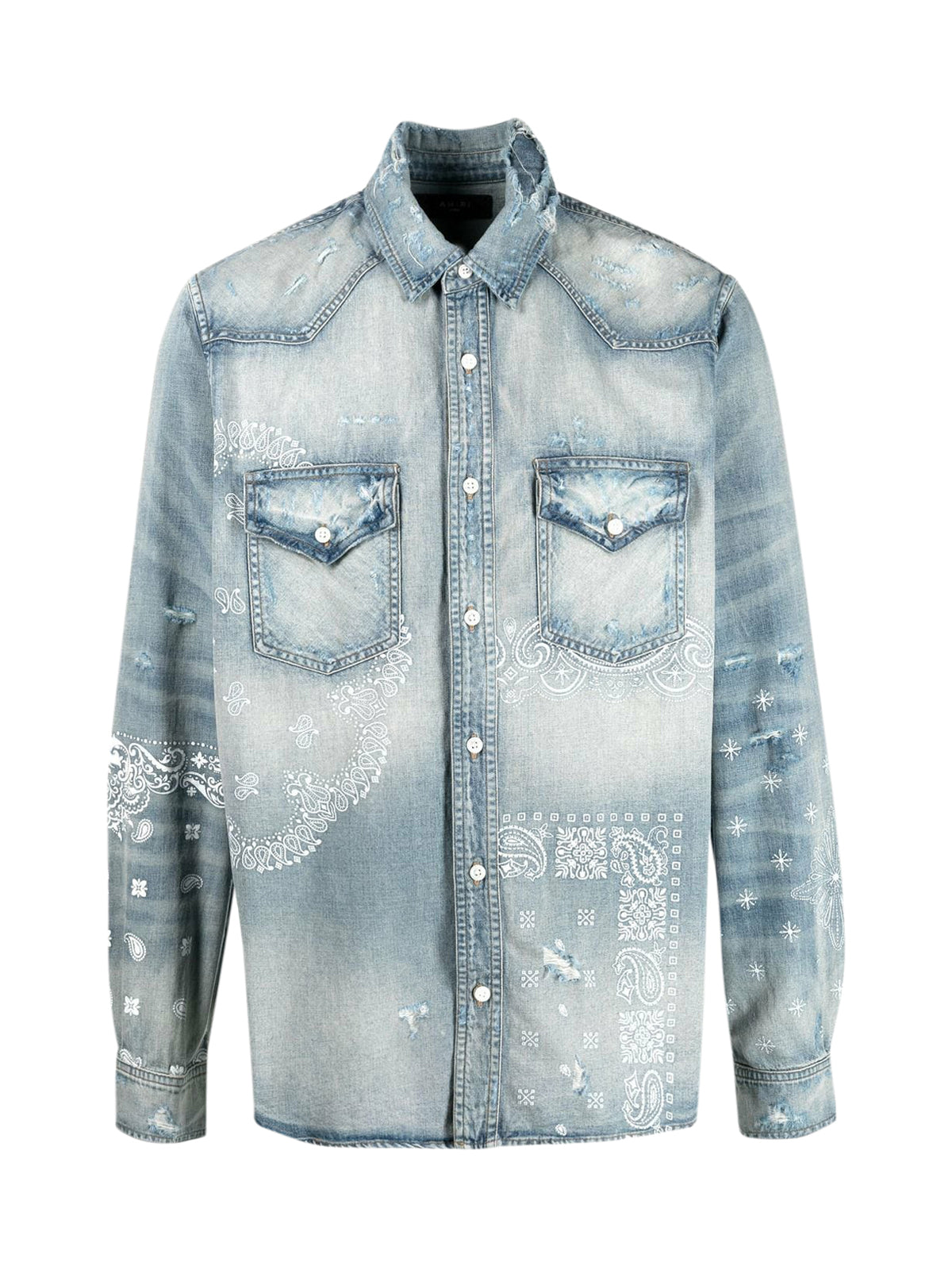 graphic-print denim shirt