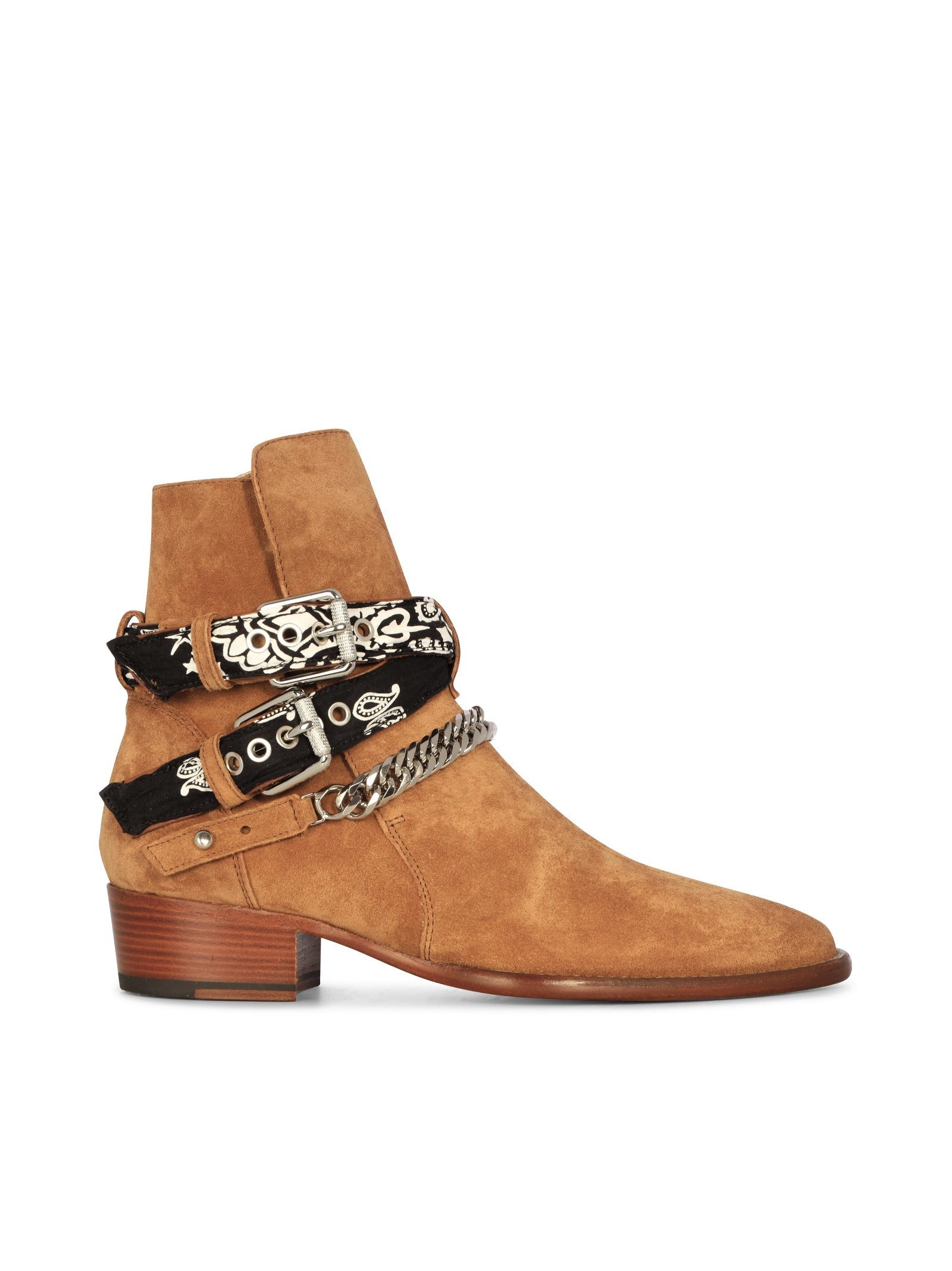 buckle-fastening leather boots