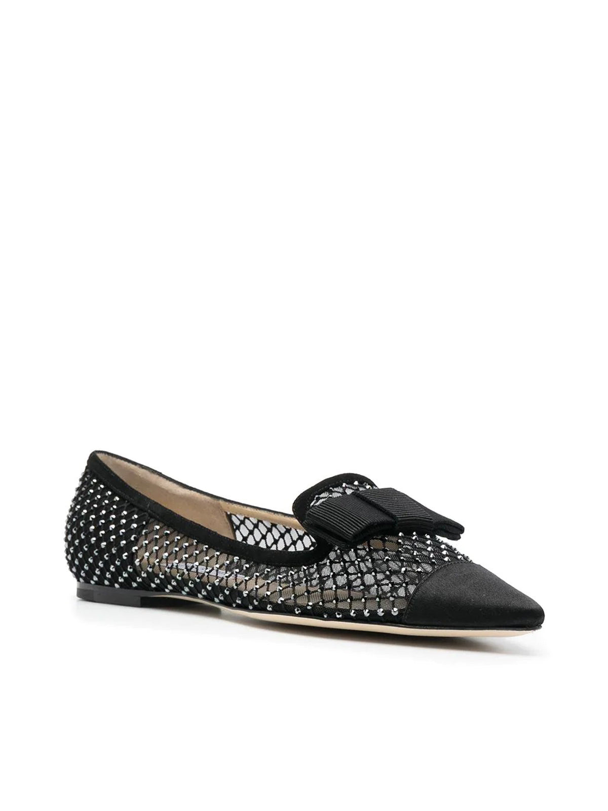 crystal mesh pointed-toe loafers