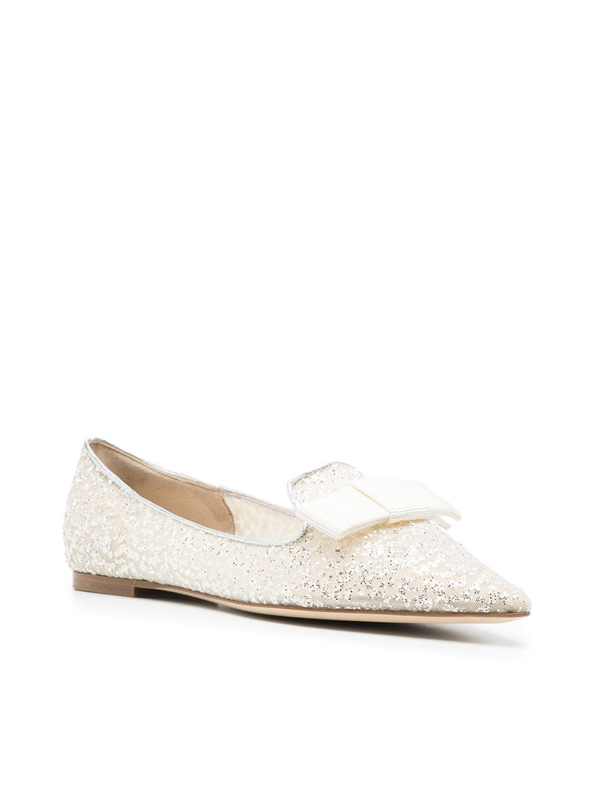 glitter-embellished pointed-toe loafers