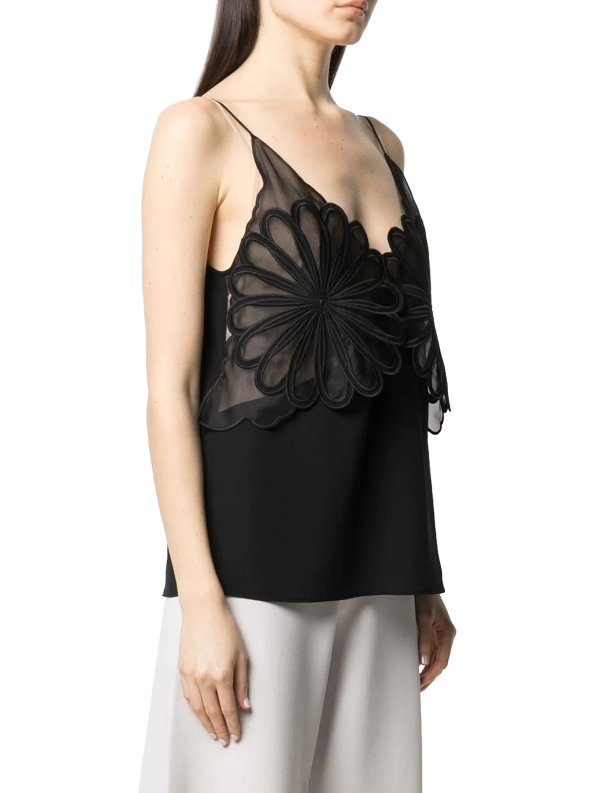 flower-embroidery silk cami top