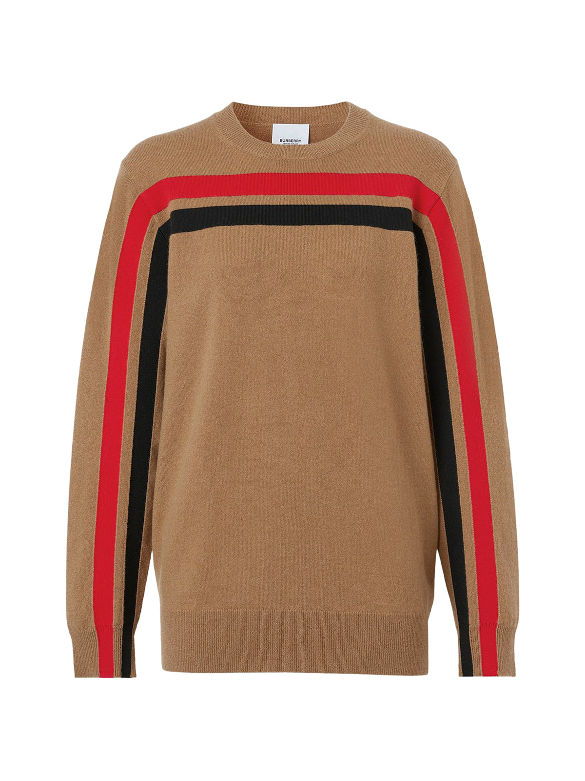 stripe detail technical cashmere jumper