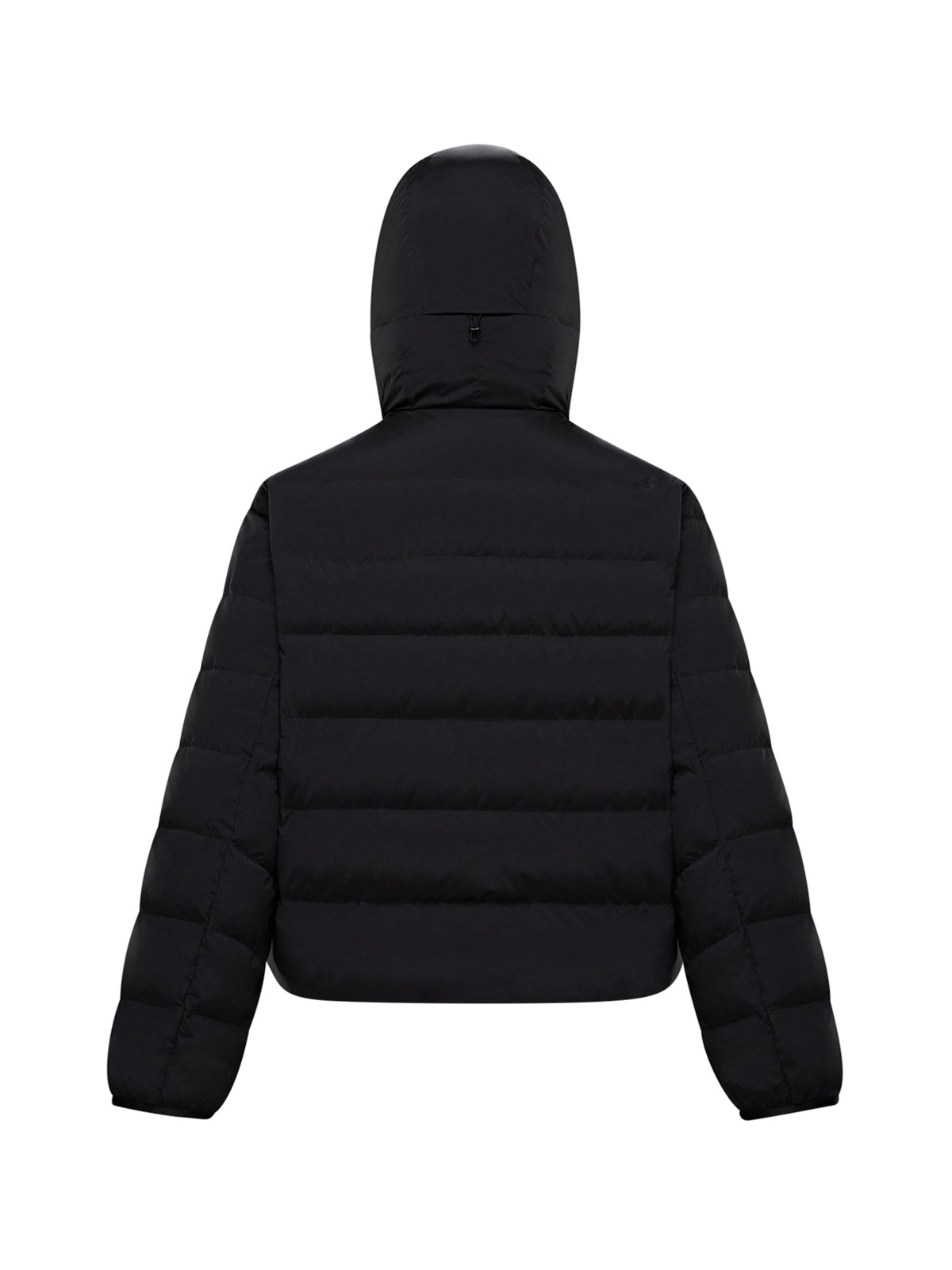 Down jacket with hood and logo