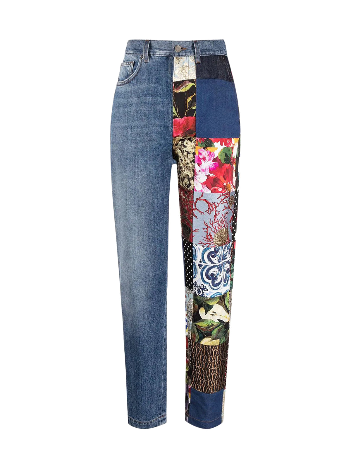 patchwork-detail straight-leg jeans