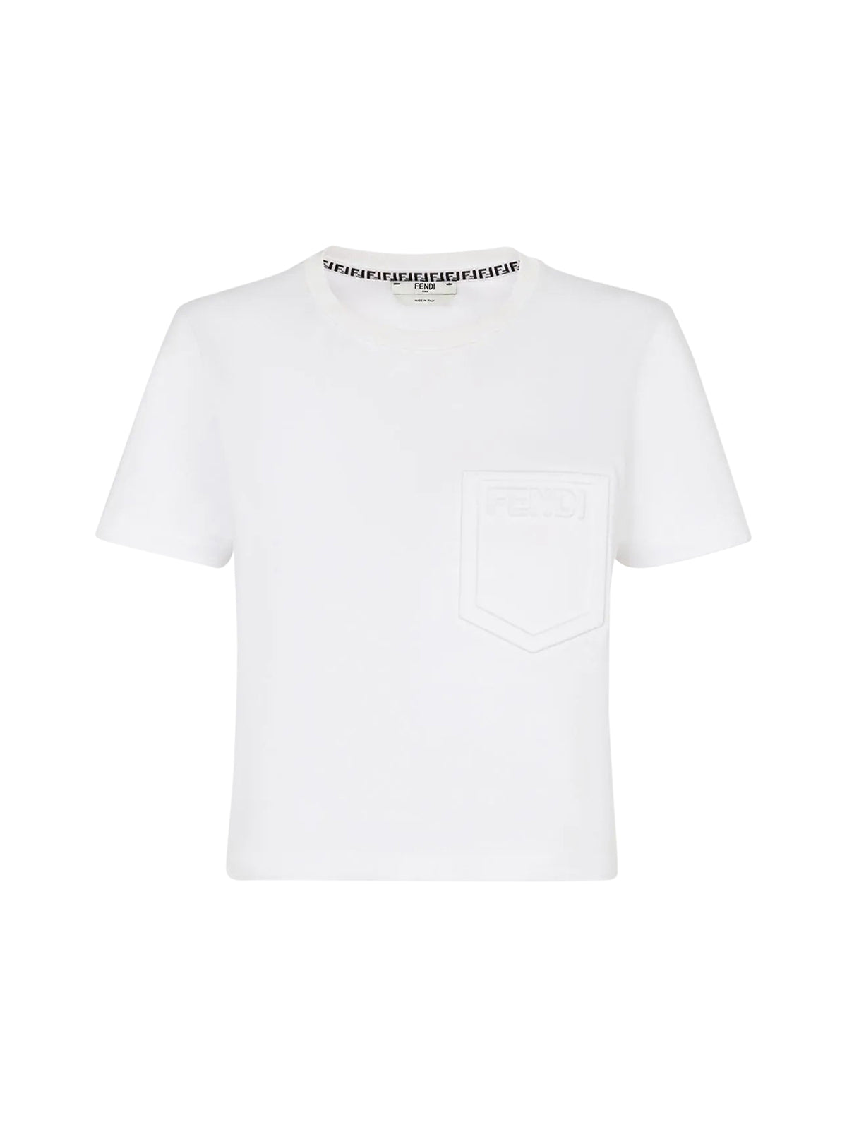 logo-embossed crew-neck cropped T-shirt