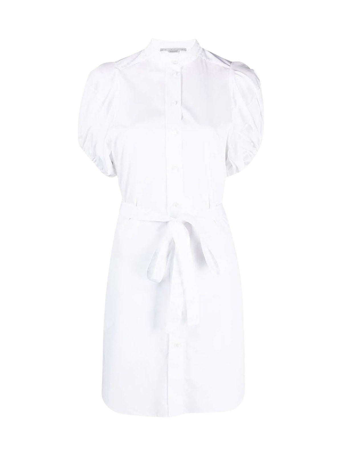 puff-sleeve belted shirt-dress