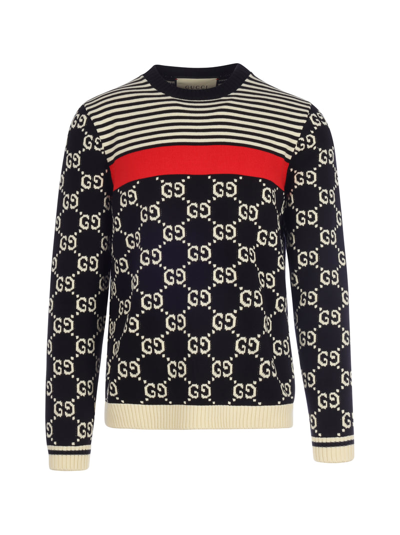 GG and stripes knit sweater
