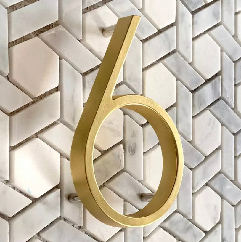 Bayside Luxe - Brass Floating and Flush House Numbers - Baysideluxe